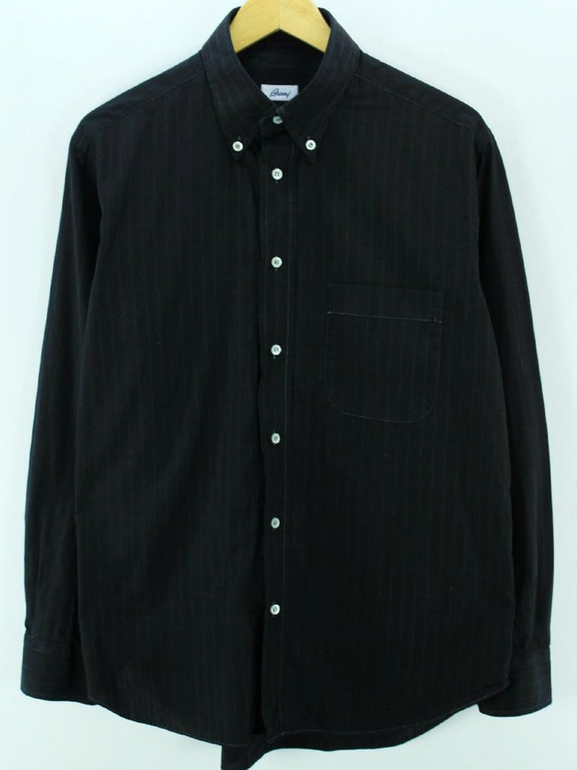 Brioni Men's Shirt, Size XL, Black Long Sleeve, Cotton Casual Top - Top-Garms
