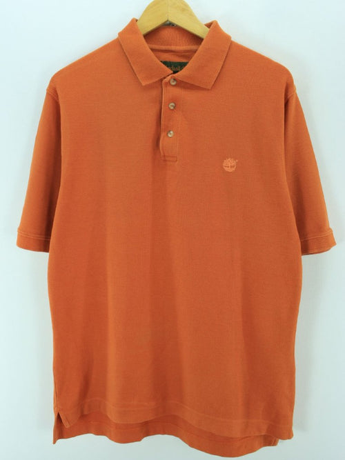 Timberland Men's Polo Shirt, Size S Orange Short Sleeve Cotton Casual Top