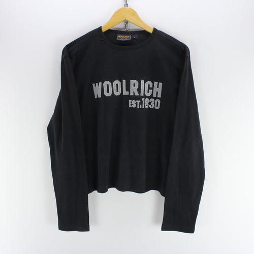 Woolrich Men's Crew Neck Jumper Size S Black Cotton Spellout Sweater