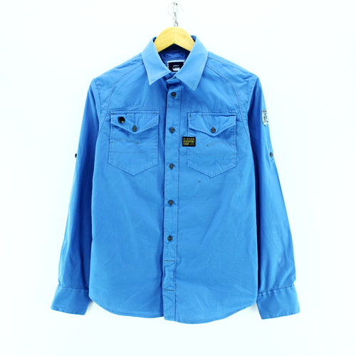 G-Star Men's Shirt Size S Blue Short Sleeve Cotton Casual Shirt