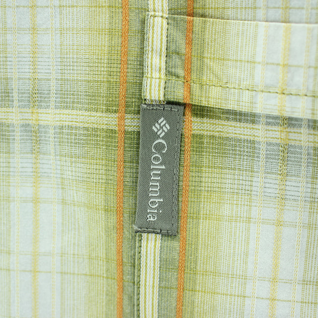 Columbia Men's Shirt Size L Green Checkered Short Sleeve Cotton Casual - Top-Garms