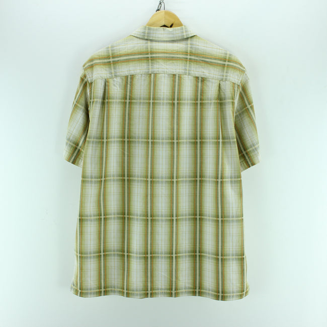 Columbia Men's Shirt Size L Green Checkered Short Sleeve Cotton Casual, Shirt, Columbia, - Top-Garms
