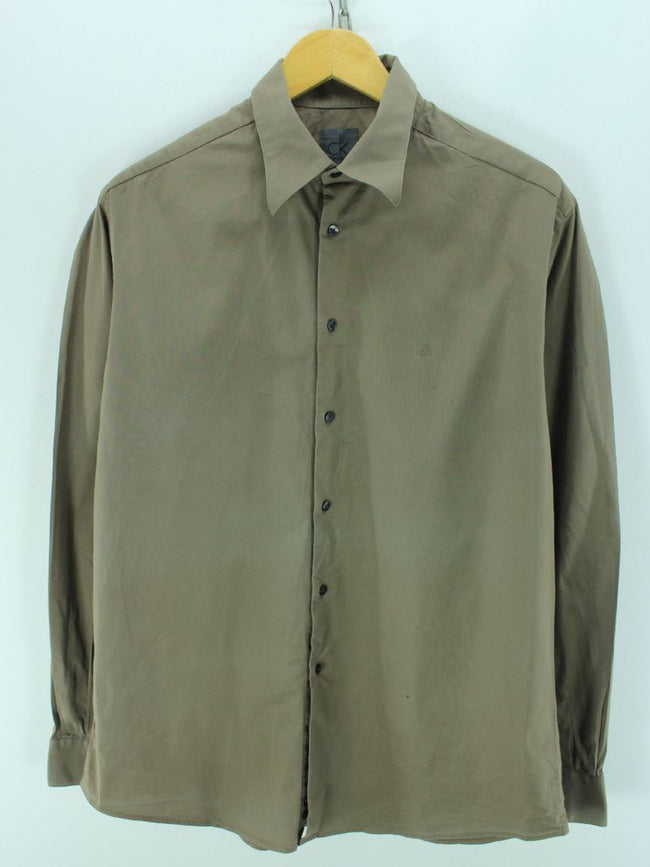 Calvin Klein Men's Shirt, Size XL, Brown Long Sleeve Cotton Shirt - Top-Garms