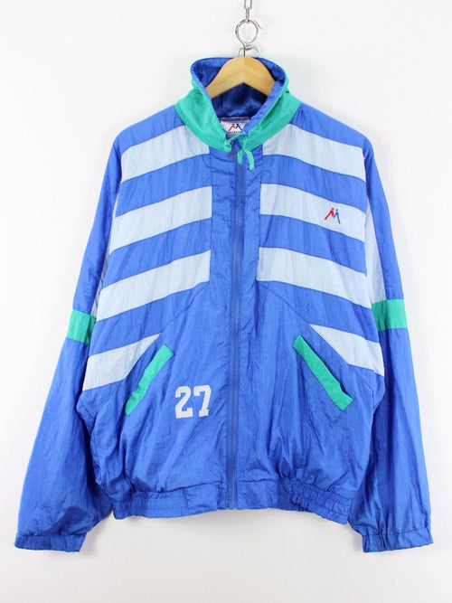 Vintage Mens Retro Tracksuit TOP, Size L, Full Zip Running Jacket
