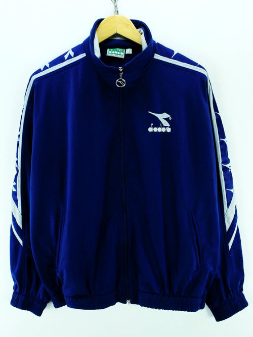 Vintage 90s Diadora Men's Tracksuit Top Size M 40 Blue Full zip