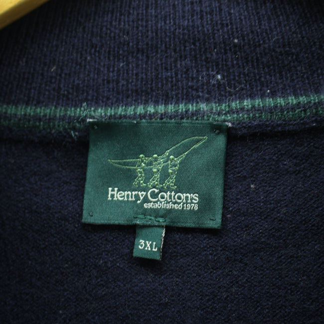 Henry Cottons Men's 1/4 Zip Neck Jumper Size 3XL Blue Zip Neck Sweater, Jumper Sweater, Henry Cottons, - Top-Garms