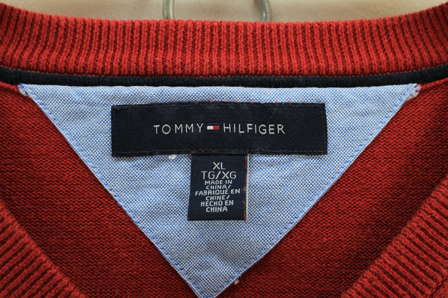 Tommy Hilfiger men's Vneck Jumper Size XL, Red longsleeves sweater, Jumper Sweater, Tommy Hilfiger, - Top-Garms