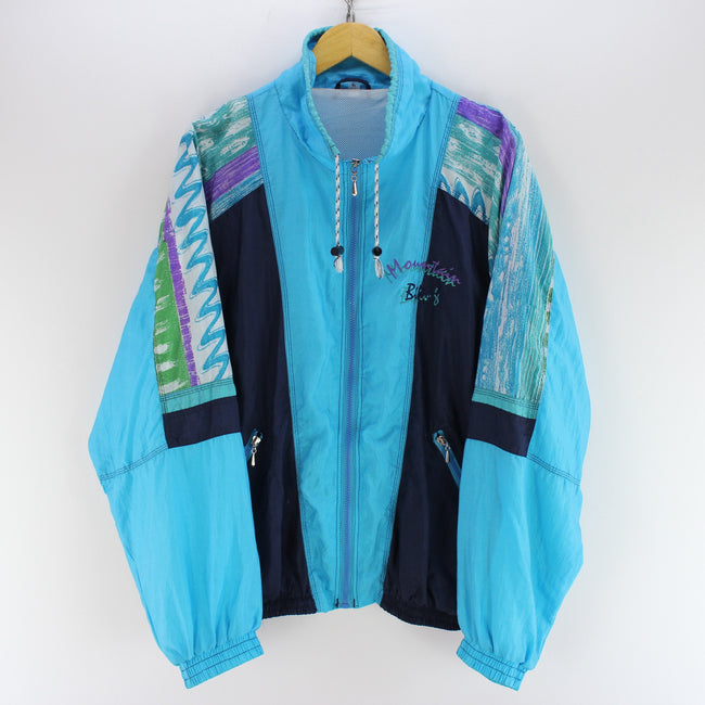 Vintage 90s Men's Shell Track Jacket Size L Blue Oversized Track Top, Tracksuit, Top-Garms, - Top-Garms