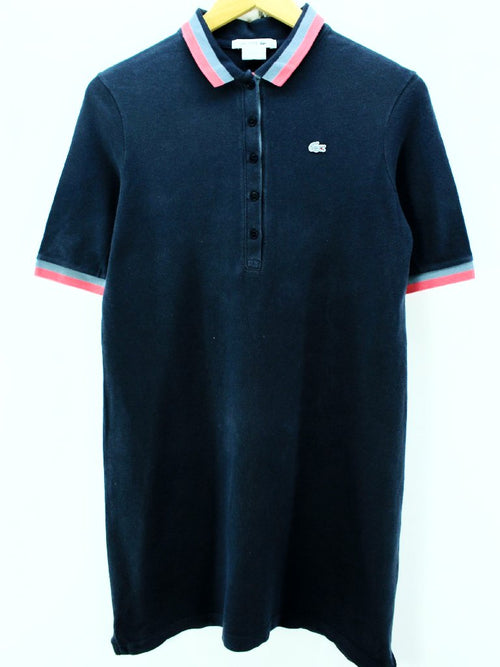 Lacoste Women's Polo Dress Size M in Navy Blue 100% Cotton Short Sleeve