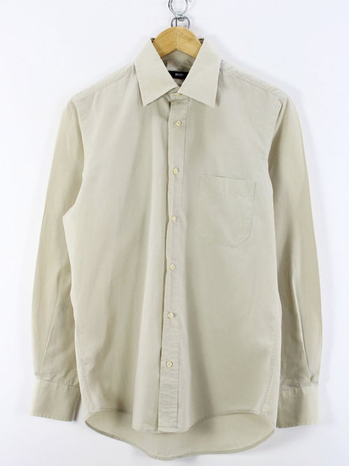 HUGO BOSS Mens Shirt, Size M, 15 -38, Beige, Long Sleeve, Cotton