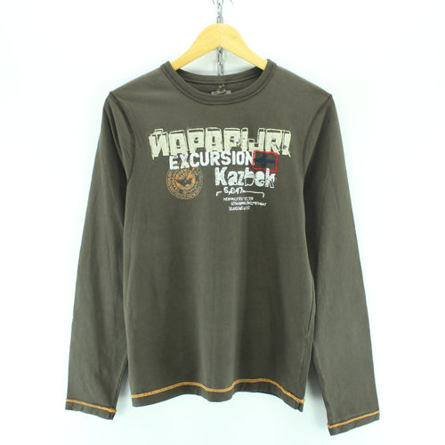 Napapijri Men's T-Shirt Size S Brown Long Sleeve Crew Neck Cotton