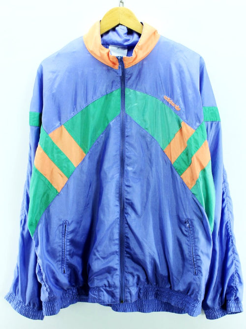 Vintage adidas Men's Tracksuit Size 44/46 Blue Full Zip Retro Long Sleeve