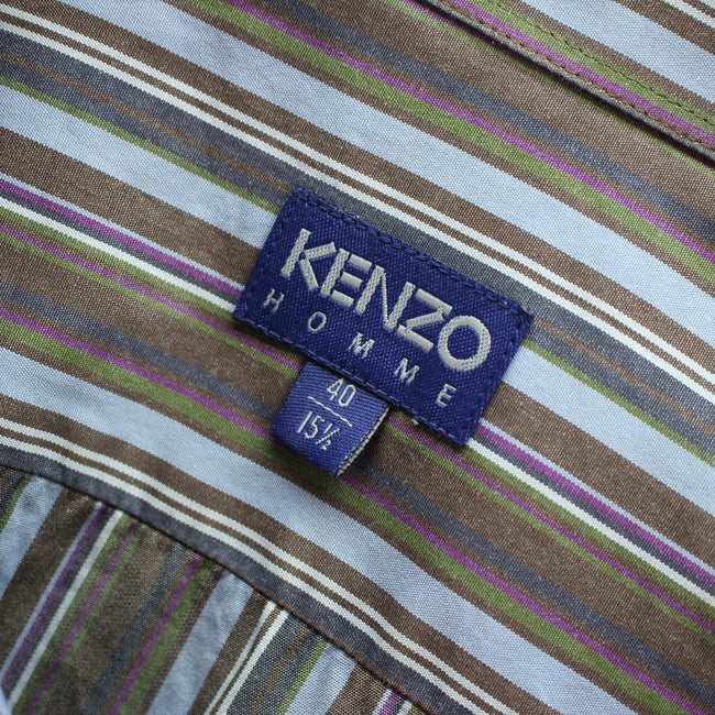 KENZO Men's Formal Shirt Size M 40 - 15 1/2 in Multicolor Cotton Striped, Formal Shirt, Kenzo, - Top-Garms