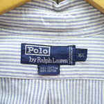 Ralph Lauren Mens Formal Shirt Size XL 16-1/2 in Blue Button Down Striped, Formal Shirt, Ralph Lauren, - Top-Garms