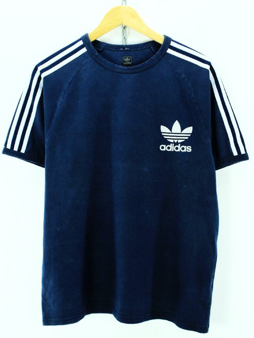 Vintage adidas Men's T-shirt Size L Blue Short sleeves Cotton Casual Tee