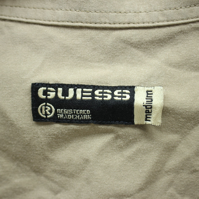 GUESS Men's Shirt Size M in Beige Color Cotton Long Sleeve, Shirt, Guess, - Top-Garms