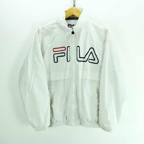 Fila Jacket in White Size S 13 Years Full Zip Shell Bomber Jacket