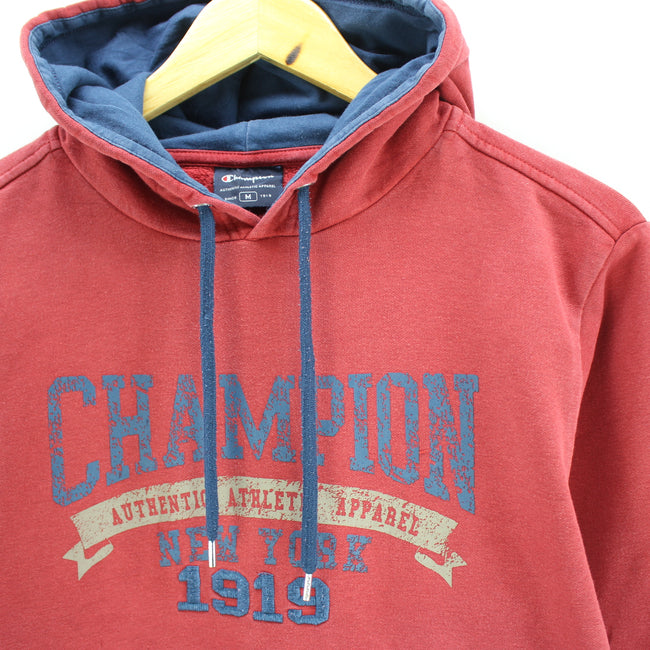 Champion Men's Sweater Size M in Red Hooded Cotton Long Sleeve Spellout, Jumper Sweater, Champion, - Top-Garms