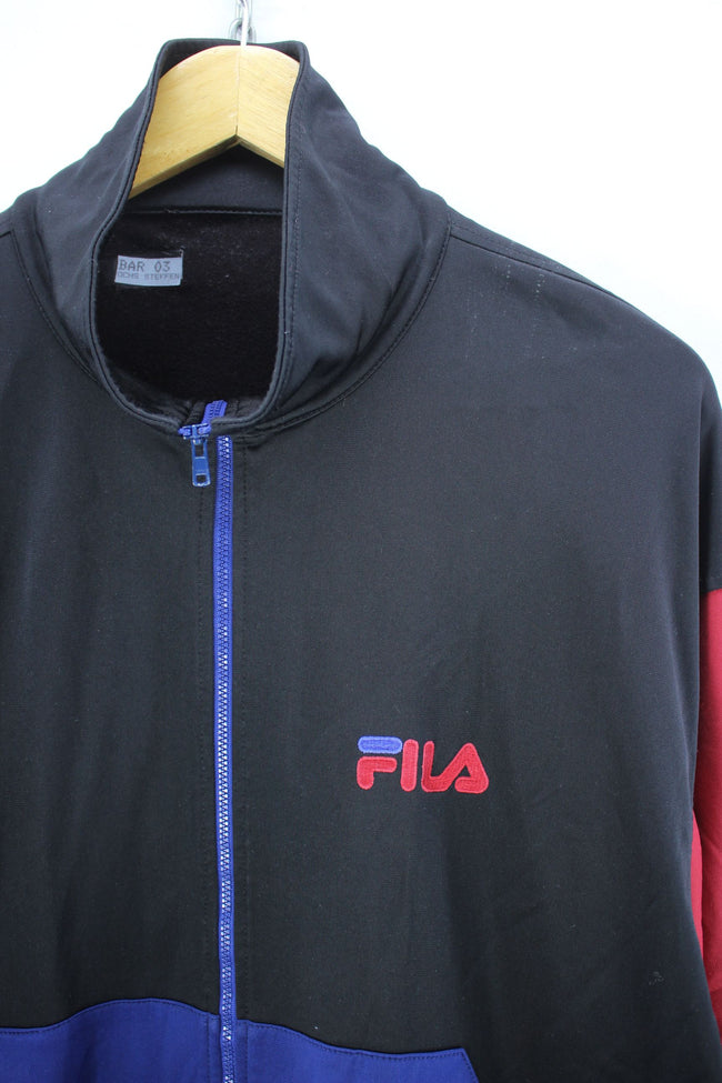 Vintage FILA Track Jacket in Black Purple Size L Full Zip Track top, Tracksuit, FILA, - Top-Garms