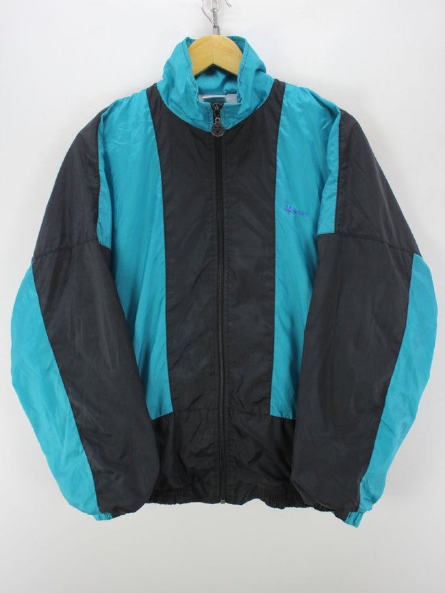 Vintage 90s Track Jacket Size 8 XL Full Zip Shell Jacket in Black Green, Tracksuit, Top-Garms, - Top-Garms