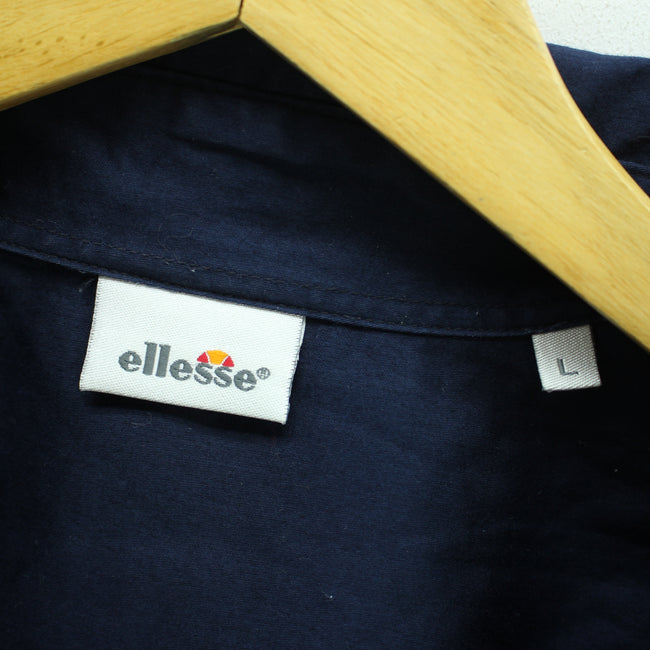 ellesse Men's Shirt Size L in Blue Button Down 100% Cotton Long Sleeve - Top-Garms