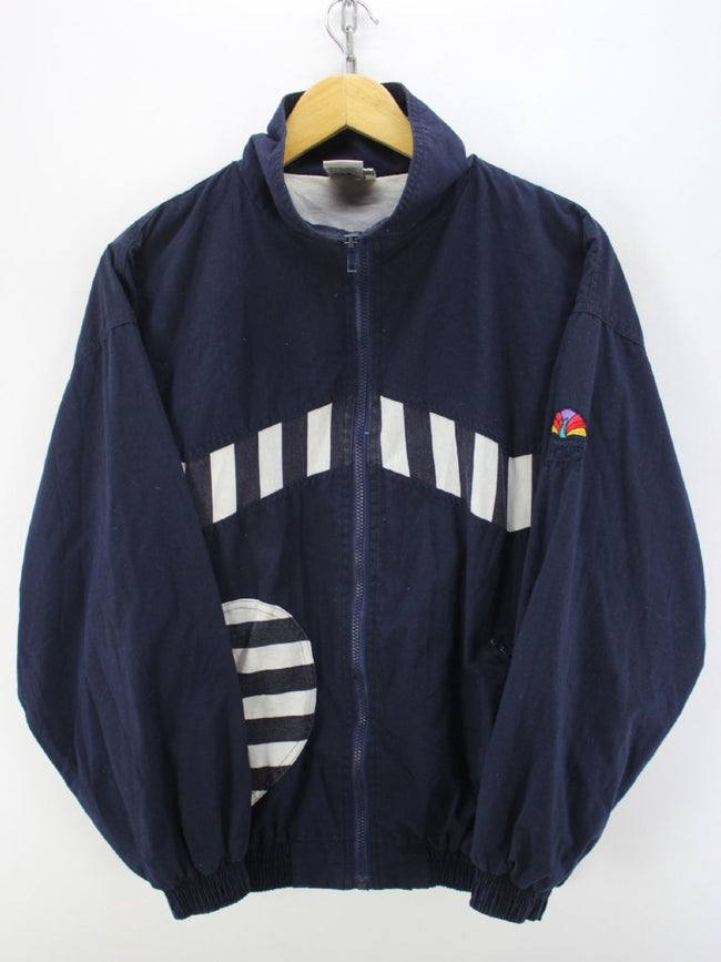 Vintage 80s Tracksuit Jacket Size M Navy Blue Shell Track jacket, Tracksuit, Top-Garms, - Top-Garms