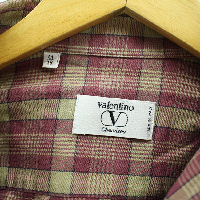 Valentino Men's Checkered Shirt in Purple Mustard Size 41 16 L Cotton top, Shirt, Valentino, - Top-Garms