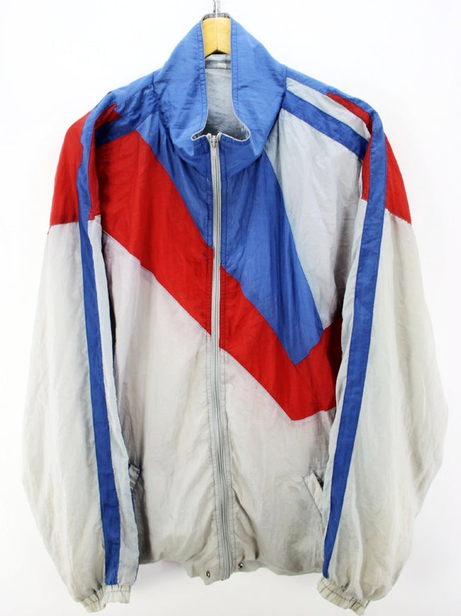 Vintage 80s Tracksuit Jacket Size L, White Red Full Zip Shell Tracktop, Tracksuit, Top-Garms, - Top-Garms