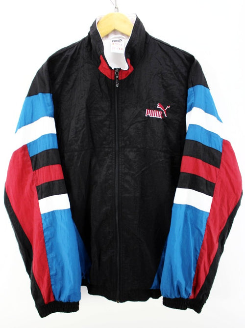 Vintage Puma Men's Track Jacket Size L Black Multicolor Zip Shell Jacket