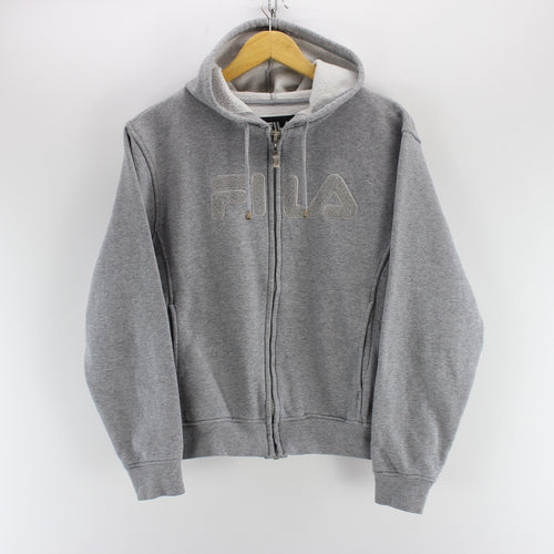 FILA Men's Sweatshirt in Grey Size M Hooded Long Sleeve Cotton Sweater