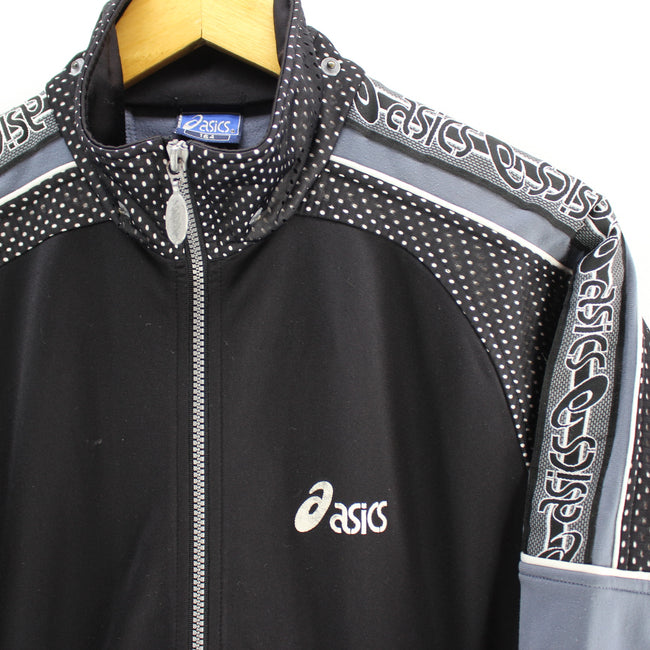 Vintage ASICS Men's Track Jacket in Black Size S Full Zip Long Sleeve, Tracksuit, asics, - Top-Garms