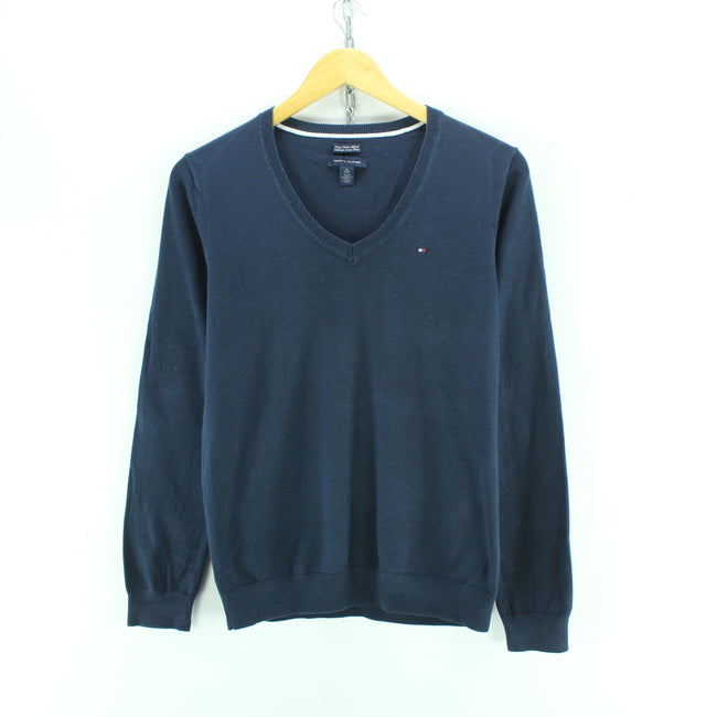 Tommy Hilfiger Men's T-Shirt Size XS in Blue V Neck Cotton Long Sleeve, T-shirt, Tommy Hilfiger, - Top-Garms