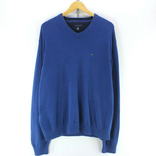 Tommy Hilfiger Men's Crew Neck Jumper in Blue Size XL
