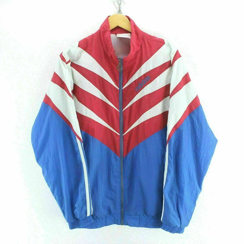 90s Vintage adidas Men's Track Jacket Red/Blue Size L Long Sleeve Zipped EF5806
