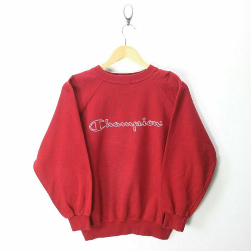 Vintage Champion Boys 14 Y Sweater in Cherry Red Big Logo Sweatshirt EF6795