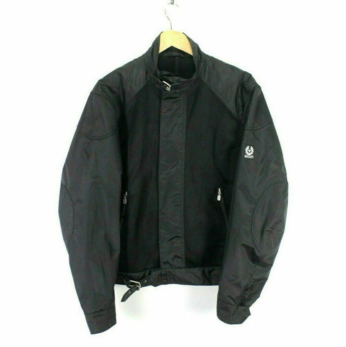 Vintage Belstaff Black Nylon Jacket Size L Full Zip Biker Jacket AB925