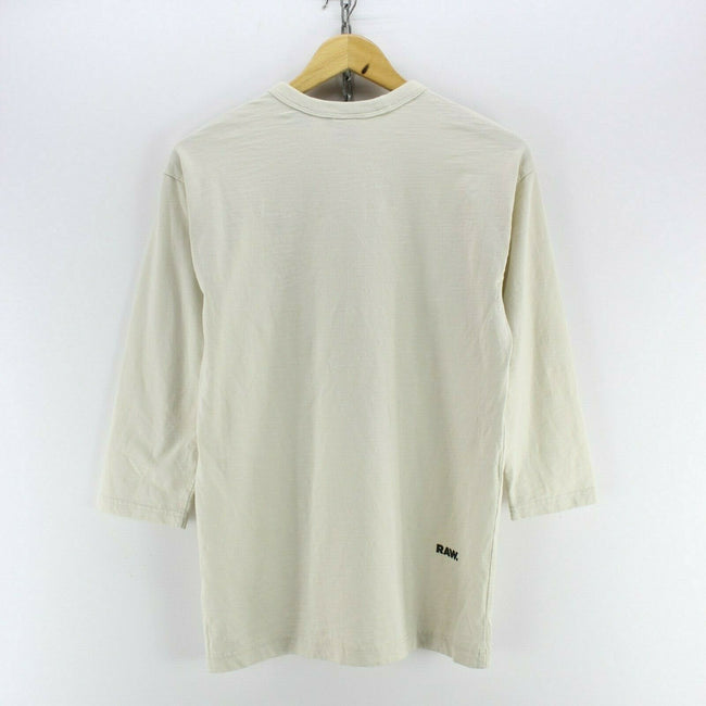 Vintage G-Star Men's T-Shirt in Ivory Size 2XS 3/4 Sleeve Crew Neck Basic, T-shirt, G-Star, - Top-Garms