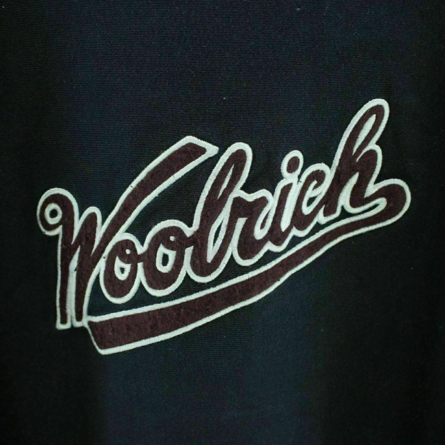 Woolrich Men's Sweater Size M in Navy Blue Crew Neck Spellout Long Sleeve EF3682