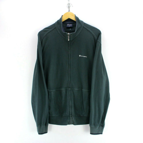 Vintage Champion Men's Track Jacket in Green Size L Long Sleeve Full Zip