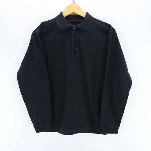 Timberland Men's Polo Shirt Size S Long Sleeves Polo-Neck Black Color