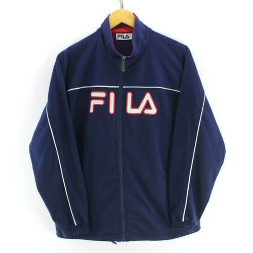 Vintage FILA Men's Track Jacket in Navy Blue Size XL Long Sleeve Spellout