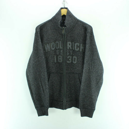 Vintage Woolrich Men's Sweatshirt Size L in Grey Zipped Wool Long Sleeve Cardigan