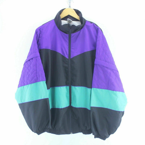 80's Vintage Track Jacket Multicolour Size 2XL Detachable Sleeves Shell