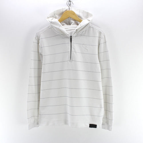 G-Star Men's Hoodie Size L Zip-Neck Striped Sweater in White Color