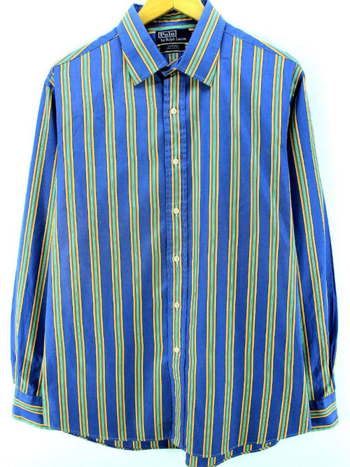 Ralph Lauren Men's Formal Shirt Size XL 17-43 Blue Striped Cotton Shirt