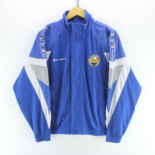 Vintage Champion Italia Men's Track Jacket in Blue Size S Arm Tape Logo