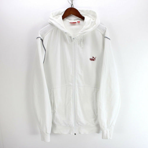 *PUMA Men's Sweater Size M Hoodie in White Color Full-Zip Sweater