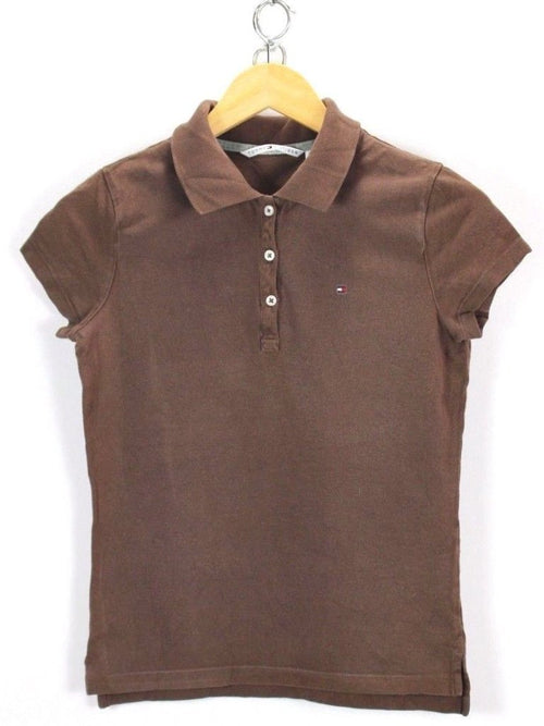 Tommy Hilfiger Womens Polo Shirt, Size S Small, Brown, Short Sleeve Cotton