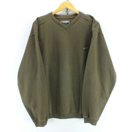 Vintage Nike Men's Sweatshirt in Khaki Size L Long Sleeve v Neck Jumper