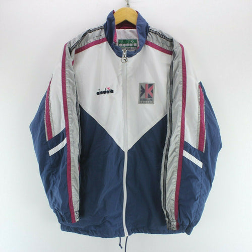 Vintage Diadora Mens Track Jacket White/Blue Size XL Long Sleeve Full Zip